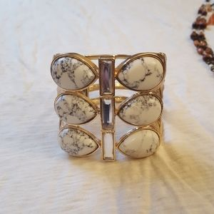 BEBE white and gold cuff bracelet